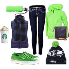 Perfect outfits for the fall day in Seattle at the Seahawks Game. Seahawks Football, Seattle Seahawks, Outfits For Teens, Fall Outfits, Cute Outfits, Tomboyish Outfits, Seattle Pride, Comfy Casual, Seahawks Colors