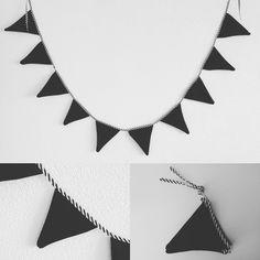 Zwart wit blijft leuk! Vlaggenlijntje handgemaakt door #mevrouwtjesheeren