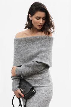 grey knit top and skirt | Harperandharley