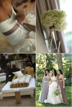 love the taupe sash on wedding gown-match to bridesmaids