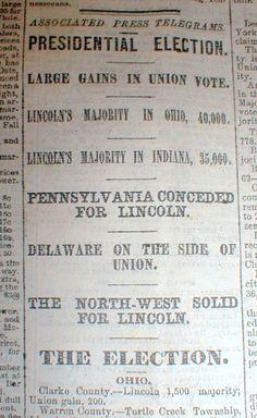 1864 Civil War headline newspaper ABRAHAM LINCOLN is RE-ELECTED US PRESIDENT