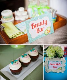 "Spa party details, ""Beauty Bar"" and totally would love doing a ""smoothie bar""!"