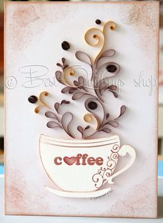 Original Quilling Art: Love Coffee Paper Art