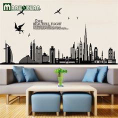 Wall Stickers Home Decor Removable Vinyl Wall Sticker New Arrival Dubai City Landscape Wall Decals Home Decor Stickers -- For more information, visit image link. #HomeDecor