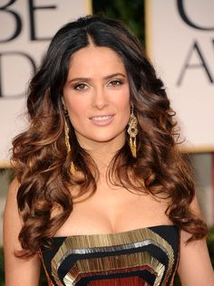 Salma Hayek's long, loose curls! LOVE the color. Hmmm....something to think about next time I get my color done.