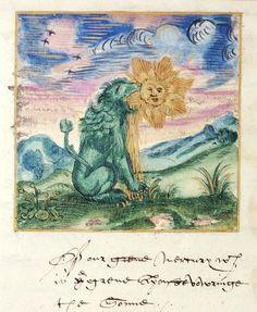 Green lion devouring the sun