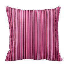Pink Stripes Throw Pillow