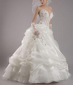 White Ball Beading V-Neck Boned Organza Wedding Dress Perfect Wedding Dress, One Shoulder Wedding Dress, Trends 2016, Diy Dress, Wedding Party Dresses, Wedding Styles, Wedding Ideas, Ball Gowns, Glamour