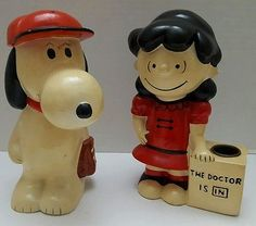 Vintage Peanuts Baseball Snoopy Coin Bank with Lucy Candle Holder Japan