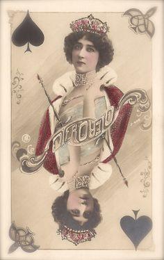 La Belle Otero, Belle Epoque Famous Spanish Parisian Courtesan, Surreal Fantasy as Queen of Hearts, Original 1900s Art Nouveau Rare Postcard