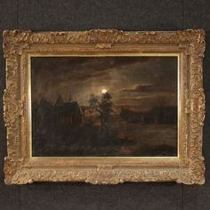 Antique Flemish painting from the century. Oil painting on canvas depicting a particular night landscape of good pictorial quality Religious Paintings, Antique Market, Antique Paint, Oil Painting On Canvas, 19th Century, Photo Signature, Antique Dealers, Artsy, Carving