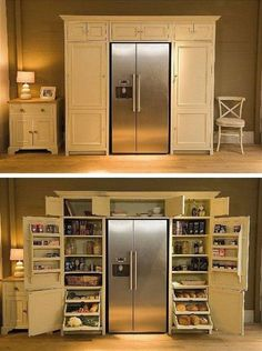 Built in kitchen pantry around refrigerator.