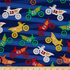 Michael Miller Motorama Primary from @fabricdotcom Designed by Michael Miller, this cotton print fabric is perfect for quilting, apparel and home decor accents. Colors include green, orange, yellow and white on a royal background.