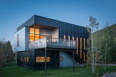 Sheet metal exterior facade of a box home in Wyoming