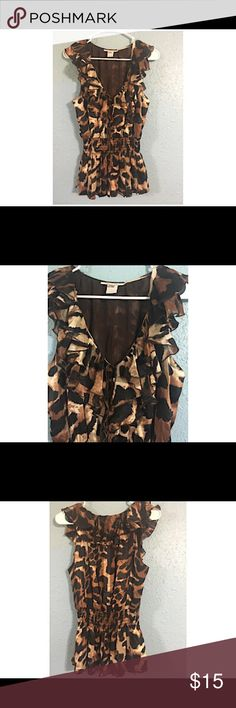 Cache Blouse Cheetah Pattern size M Cute with ruffle collar. Cache Tops Blouses