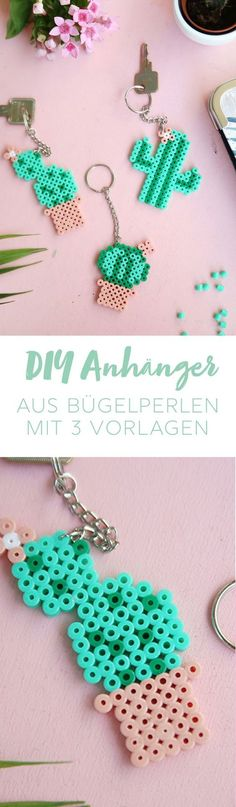 Creative idea of ​​DIY for the manufacture of pearls: pretty key chains in … – pügelperlen – Hama Beads Diy Arts And Crafts, Diy Craft Projects, Bead Crafts, Perler Beads, Fuse Beads, Perler Bead Designs, Beading For Kids, Iron Beads, Diy Keychain