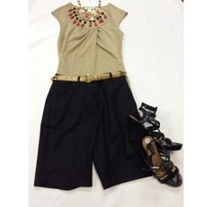 Summer Evening Outfit - White House Black Market Gold/Tan Shimmery size XS $14.95. Black Lafayette148 Shorts size 2 $45.95. Ann Taylor Black wedge shoe size 8  - $48.95   Too Good To Be Threw Designer Consignments - San Antonio, TX