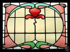 Antique Stained Glass Window VICTORIAN BEAUTY Vitrail