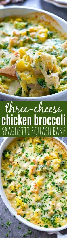 This cozy spaghetti squash bake is loaded with three kinds of cheese and tons of tender broccoli and chicken. You won't even believe it's so easy to make AND healthy for you!