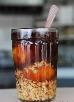 The most refreshing Chilean drink: Mote con Huesillos (Boiled Wheat with Cooked Peach). I love it