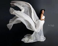 Caroline de blanco que fluye gasa maternidad vestido vestido