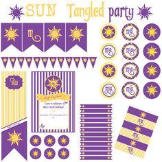 Sun Tangled Rapunzel Party - Festa a tema Sole Rapunzel Raperonzolo - Printable Party