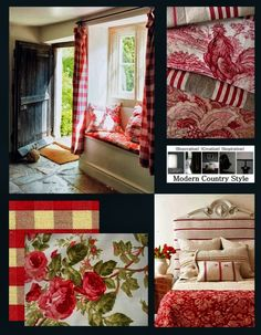 Gingham checks and toile combine to give a relaxed French Country feel; stick with similar reds for mixing patterns...and the world's your oyster!; painted white furniture and echoes of grain sack stripes make the best of this bold red quilted throw; Laura Ashley Roses cotton in Berry and Tinsmiths Gingham check in Red will make you smile every day! Full details from Modern Country Style blog: Romantic Red Faded Florals: Get The Look