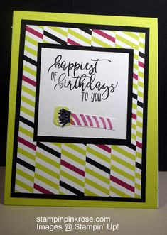 Stampin' Up! Birthday card made with Picture Perfect Birthday stamp set and designed by Demo Pamela Sadler. It is time to toot the horn for someone's biirthday. .#birthdaycard #celebration #partytime #unisex card See more cards at stampinkrose.com and etsycardstrulyheart