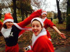 Action shot: Lucie's team mid Santa Run