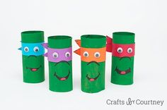 Looking for a fun Teenage Mutant Ninja Turtle craft to do with your kids? Check out this super easy toilet paper roll craft! We love a TP craft around here! Easy Crafts For Kids, Cute Crafts, Toddler Crafts, Creative Crafts, Diy For Kids, Crafts To Make, Arts And Crafts, Creative Ideas, Kids Fun