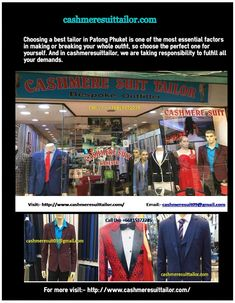 If you want to stitch your custom suit for any parties or occasions visit Cashmere Suit Tailor, one of the best tailor in Patong. We have experienced tailor who stitches your suits perfect for any occasions and parties. Cashmere Suit, Tailor Shop, Tailored Suits, Phuket, Are You The One, Stitches, Parties, Fiestas, Stitching