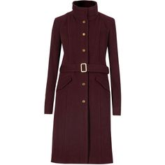 M&S Collection Wool Blend Funnel Neck Belted Overcoat (12.340 RUB) ❤ liked on Polyvore featuring outerwear, coats, red, belted coat, over coat, funnel coat, red coat and wool blend overcoat