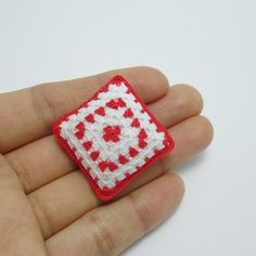 Red tiny cushion for dollhouse 12th scale miniature by MiniGio