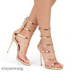 82432efcb86c Rome Style Hollow Out Gold Ultra High Heels Women Gladiator Sandals Open Toe  Buckle Zipper Thin high-heeled Sandals Women Shoes