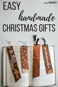 DIY Leather Bookmarks Tutorial - Easy Handmade Unique Christmas Gifts | Brown Bookmark Design Ideas to make for your friends | Xmas Gift Ideas for kids | Fun Holiday DIY Crafts #bookmarks #bookmkar #christmasgifts