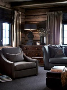 [CasaGiardino] ♛ Log house and transitional furniture Chalet Interior, Interior Exterior, Interior Design, Log Cabin Living, Home And Living, Living Room, Cabin Homes, Log Homes, Cabin Chic