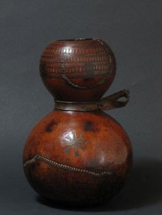 weareallafricans:    Prestige calabash, incised gourd & hide, 9.5×6ins, 24×15cms, Ethiopia, East Africa, early 20thC,