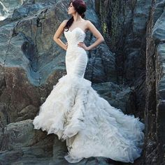 Charming Strapless Women's Mermaid Court Train Wedding Dress
