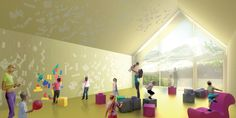 New Kindergarten and Nursery School designed by San Vito di Cadore. Patterned wall and geometric stickers for interacting with.