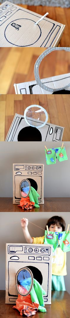 DIY washing machine from cardboard box.  No directions on this site.