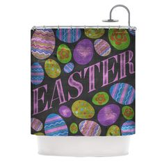 Easter Eggs by Snap Studio Pastel Typography Shower Curtain