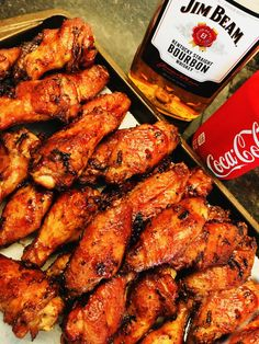Jim Beam and Coke Glazed Chicken Wings - Cooks Well With Others Traeger Recipes, Grilling Recipes, Meat Recipes, Recipies, Coke Recipes, Bourbon Recipes, Yummy Recipes, Yummy Food, Smoked Chicken Wings