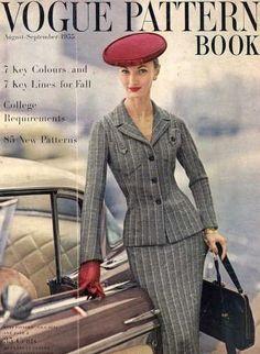 VOGUE PATTERNS AUGUST-SEPTEMBER 1955 EVELYN TRIPP 50s vintage fashion style grey pinstripe suit model magazine hat gloves purse car