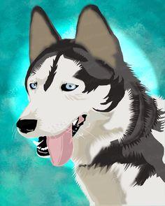 Huskey 8x10 Digital Art Print. $45.00, via Etsy.