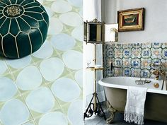 tile on the left is still nice for the pool bathroom especially if we are using the pebbles. Interior Styling, Interior Decorating, Interior Design, Pool Bathroom, Bathrooms, Eclectic Bathroom, Outdoor Tiles, Vintage Tile, Wall Tiles