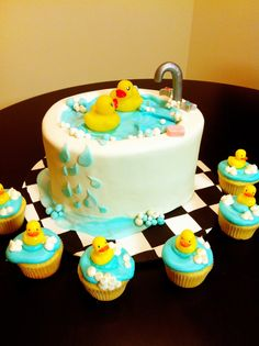 Rubber Duckies cake and cupcakes! Rubber Ducky Party, Rubber Ducky Baby Shower, Baby Shower Duck, Baby Shower Cakes, Ducky Baby Showers, Pretty Cakes, Cute Cakes, Yummy Cakes, Baby Birthday Cakes