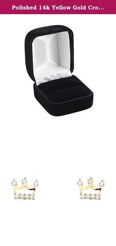 Polished 14k Yellow Gold Crown Cubic Zirconia Stud Earrings Screw-Back. Polished 14k Yellow Gold Crown Cubic Zirconia Stud Earrings Screw-Back. Width: 10 mm; Height: 7 mm; Weight Range: 0.7 - 1 Grams. Guaranteed 14K Solid Gold; Authenticated with a 14K Stamp. Product Enclosed in Black Velvet Gift Box. Ships Same Day if Order Received by 4:00 PM Central USA; Free First Class Shipping Includes Tracking. 30-Day, Hassle-Free, Full Money Back Guarantee; Contact Us to Process a Return and…