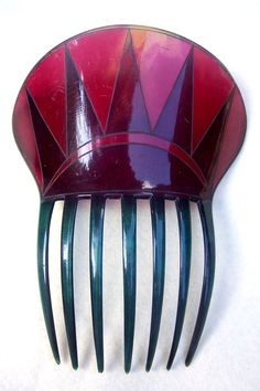 Art Deco hair comb red celluloid triangles