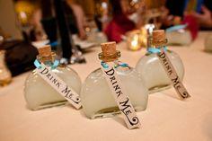Whimsical Alice in Wonderland Wedding Theme - Drink Me Bottles
