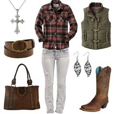 Click on the links below the image to buy each item or for more info. Legendary Whitetails Plaid Flannel Shirt Bootcut Distressed Denim Jeans Ariat Legend Distr